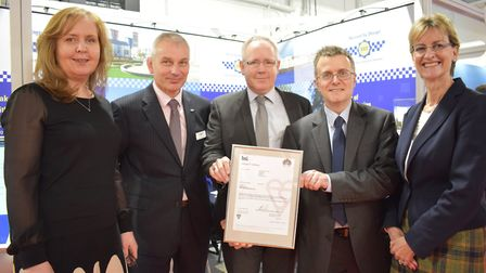 ToolWatch App receiving its BSI accreditation. From left to right: Denise Brett from ToolWatch, Guy