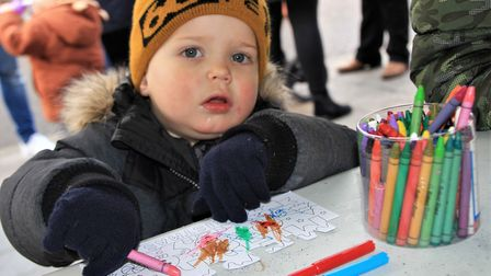 Jakob Valsson enjoying the Royston Christmas Trail. Picture: Clive Porter