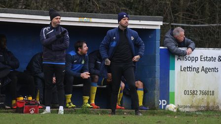 Micky Nathan (left) will see out the season as head coach at Harpenden Town. Picture: KARYN HADDON