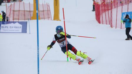 St Albans schoolgirl Liv Howeson in action on the slopes during a slalom race.