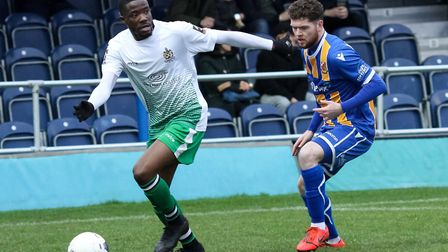 Solomon Nwabuokei sent St Albans City on their way to a 3-0 win at Bath City. Picture: JIM STANDEN
