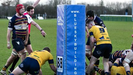 Old Albanian suffered a narrow 20-16 defeat at home to Henley in National Two South. Picture: NEIL B