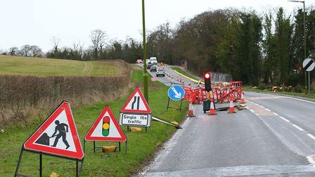 traffic control causes some delays on Baldock Road on north edge of Therfield Heath. Picture: David