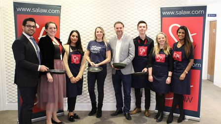 Sponsors and organisers of the St Albans Pancake Race.
