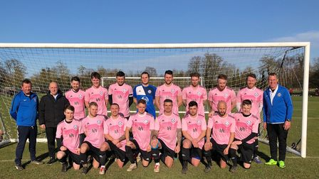 Eynesbury United, pictured in kit sponsored by Innovative Design, ahead of their victory against Ful
