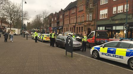 Police stopped a suspect car in St Peter's Street, St Albans.