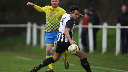 Yasin Boodhoo got his second goal in Colney Heath colours against Eynesbury. Picture: KARYN HADDON