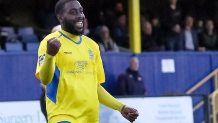 St Albans City's Rohdell Gordon celebrates during their 1-0 win over Maidstone United. Picture: JIM