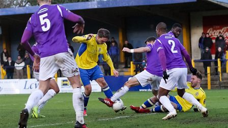 Tom Bender in action for St Albans City during their 1-0 win over Maidstone United. Picture: JIM STA