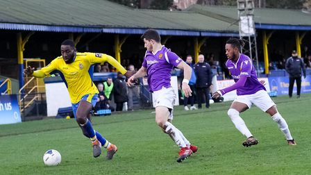 Rohdell Gordon in action for St Albans City during their 1-0 win over Maidstone United. Picture: JIM