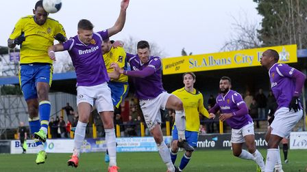 Jefferson Louis in action for St Albans City during their 1-0 win over Maidstone United. Picture: JI