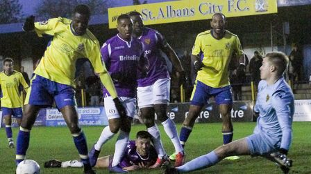 Solomon Nwabuokei in action for St Albans City during their 1-0 win over Maidstone United. Picture:
