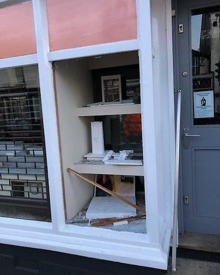 Windows were smashed on the store, which is based in Dunmow High Street.