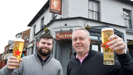 The Victoria, Victoria Street, St Albans. New licensees (L-R): Thomas Maloney and his father Tom Ma