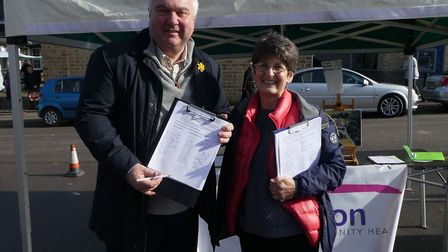 North East Herts MP Sir Oliver Heald with Maggie Allen from Royston Community Health. Picture: RCH