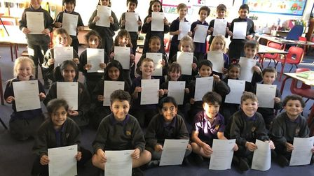 This class at Cunningham Hill School in St Albans wrote letters to Morrisons about plastic use. Pict
