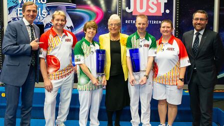 Pictured after the Mixed Pairs final are, from the left, John Potter (Potters Resort), Greg Harlow,