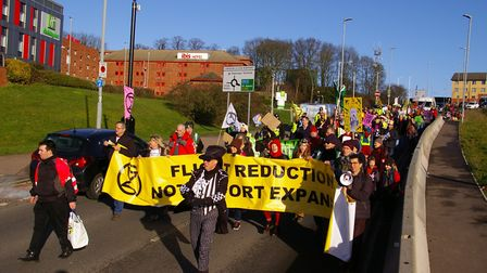 Extinction Rebellion protesters from St Albans and Luton held a demonstration at Luton Airport. Pict
