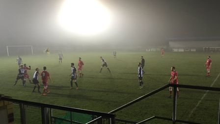 Baldock Town's home game with Colney Heath was played in patches of dense fog.