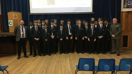 Major Nicholas Perham went back to Verulam to talk to students. Picture: Supplied