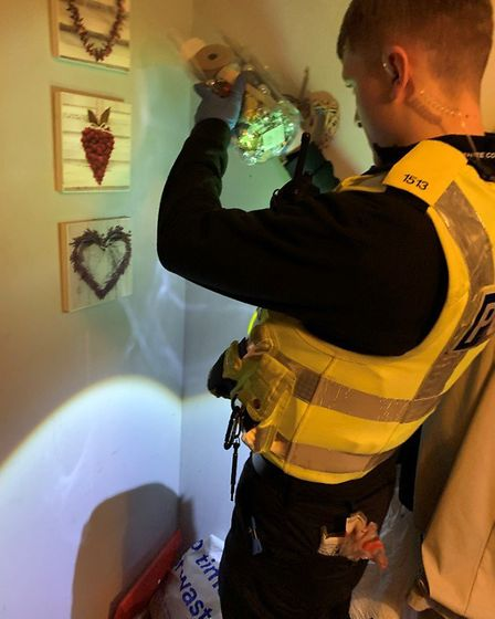 The team scoured the property and uncovered cannabis, cash, burner phones and drug paraphernalia.