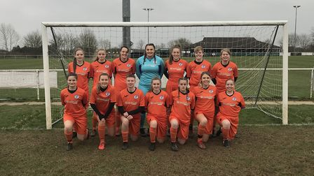 St Ives Town Ladies, pictured ahead of their defeat at Colney Heath last Sunday, are back row, left
