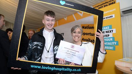 Chef apprentice Alfie Kavanagh with St Albans MP Daisy Cooper.