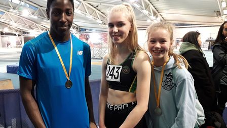Hunts AC stars at the Eastern Counties Indoor Championships are, from the left, Ayo Opaleye, Lizzy H