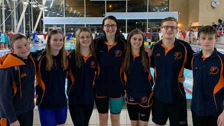 St Ives swimmers at the county championships are, from the left, Oliver Dickson, Ciara Taylor, Fran