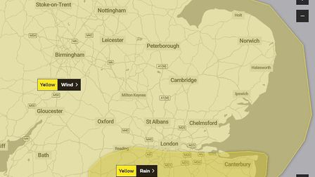 There has been a yellow weather warning issued for the East of England.