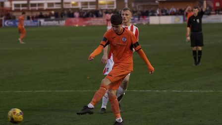 Dylan Wilson struck a consolation goal for St Ives Town in the defeat at Stourbridge. Picture: LOUIS