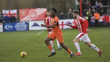 Andrew Osei-Bonsu in action for St Ives Town during their defeat at Stourbridge last Saturday. Pictu