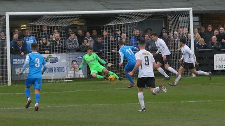 Action from Royston Town's FA Trophy win over Chester City. Picture: David Hatton