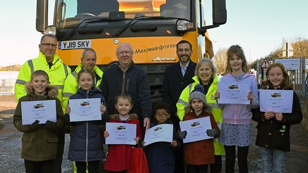 Youngsters you won the gritter lorry competition at the Huntingdon depot
