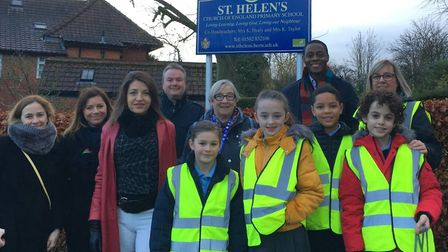Cllr Annie Brewster and MP Bim Afolami with pupils from St Helen's C of E Primary School in Wheatham