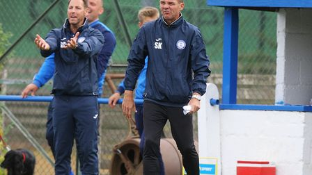 Steve Kuhne (right) is part of the new Eynesbury Rovers managerial team. Picture: KARYN HADDON