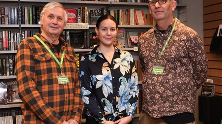 Cllr Steve McAdam, Dominika Fullova and Geoffrey Stalker at the launch of the awards