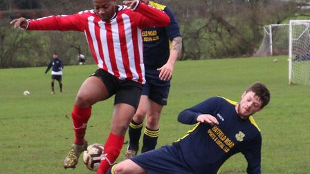 Anthony Brown scored Hanburys' opening goal against St Albans Warriors. Picture: BRIAN HUBBALL