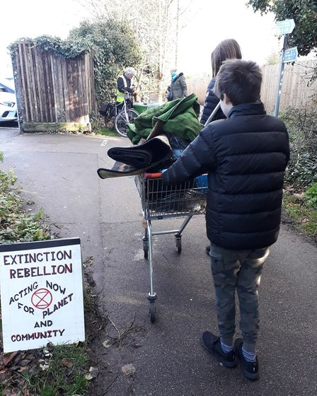 Members of St Albans Extinction Rebellion picked litter along the Alban Way. Picture: Helen Furse