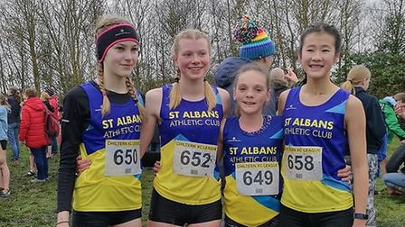 St Albans Athletics Club's U15 girls team at the Chiltern Cross Country League in Keysoe.