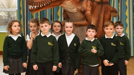 Bushmead School pupils with the electronic dinosaur
