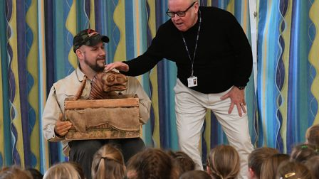 Pupils were introduced to the baby dinosaur at Bushmead Primary School