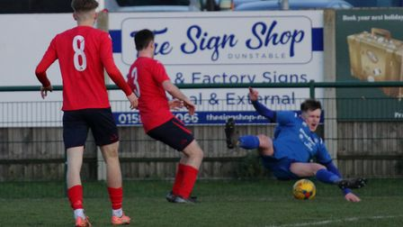 St Neots Town defender Aaron Smith (3) concedes a penalty in their loss to AFC Dunstable. Picture: D