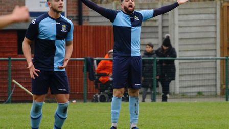 Tommy Boxer (right) fired St Neots Town to victory against Didcot Town. Picture: DAVID R. W. RICHARD
