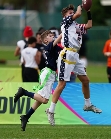 A Houghton Country Primary player in action while representing the UK at the NFL Flag Championships.
