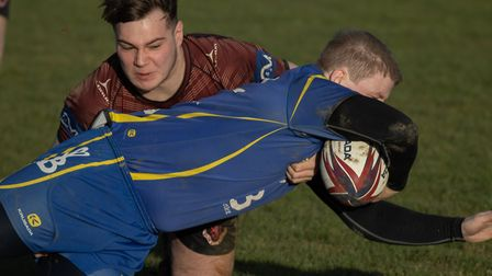 Paul Ashbridge dives over the line for a try as St Ives beat Melton Mowbray. Picture: PAUL COX