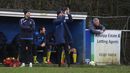 Mickey Nathan was proud of his Harpenden Town side in spite of the loss to Colney Heath. Picture: KA