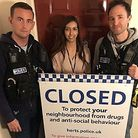 PC Dan Bleach, Simran Chana from the police community safety unit and PC Mike Wilson at Ellis House
