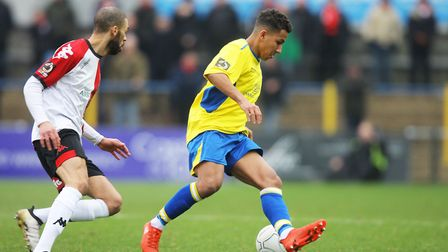Zane Banton admitted the St Albans City players were hurting after the loss to Welling United. Pictu
