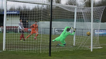 Matt Foy hits St Ives Town's equaliser in the Southern League Premier Division Central success at Co